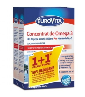 Eurovita Concentrat de Omega 3, 1+1 Pachet Promo