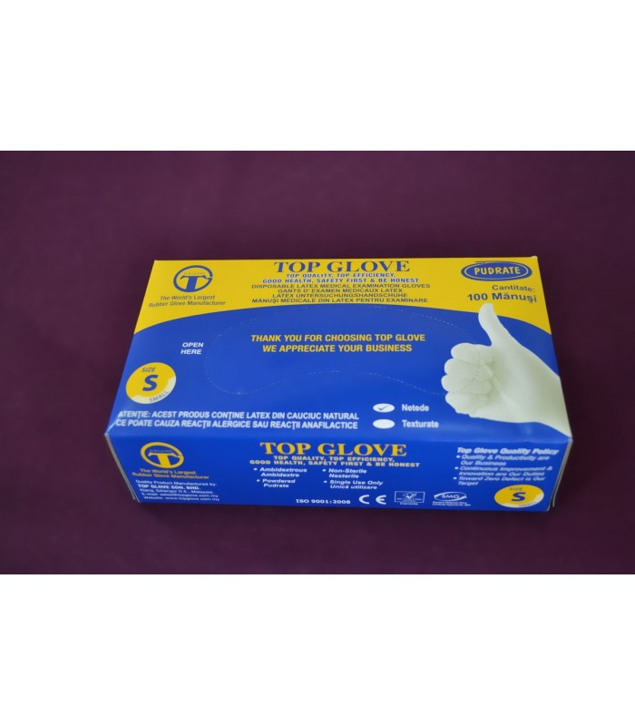 Manusi Examenare Latex Top Glove Pudrate