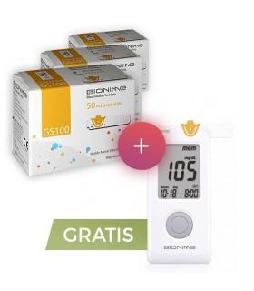 Pachet Promo 3 cutii Teste Bionime GS 100 + Glucometru GM 100