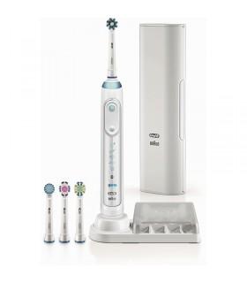 Periuta de dinti electrica Oral-B Genius 9000, Smartring, 6 programe, 4 capete, Conectivitate Bluetooth, Alba
