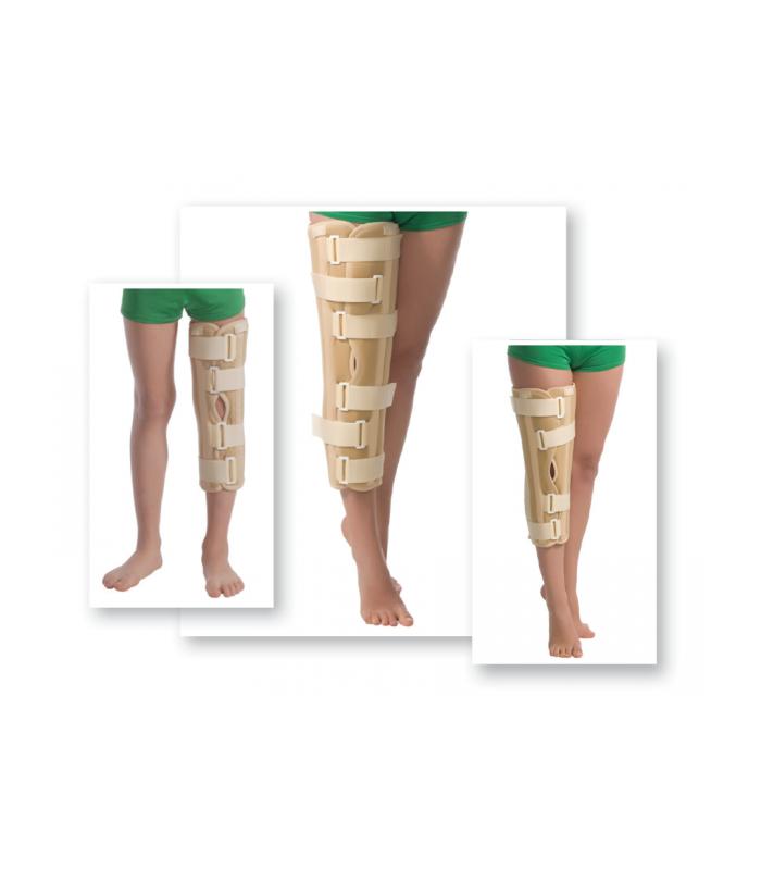Orteză de genunchi cu fixare suplimentară (atele rigide)