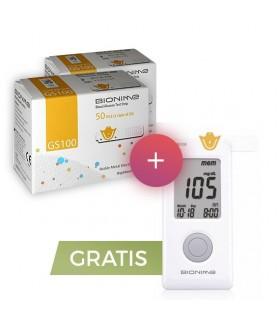 Pachet Promo 2 cutii Teste Bionime GS 100 + Glucometru GM 100